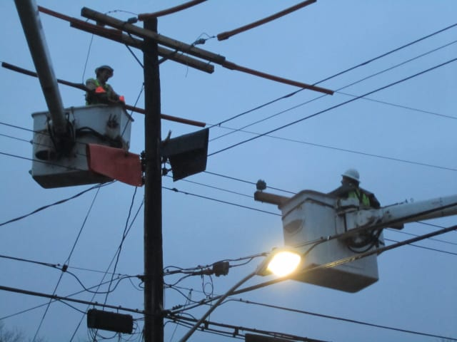 Con Edison crews work to make permanent repairs in Briarcliff Manor in early December.
