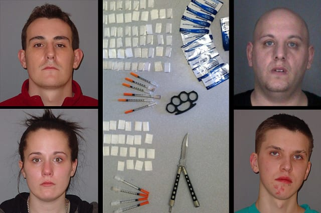 Clockwise from top left: Peter Muir, Bret Oleet, Cody Vonelm and Alora Muir were arraigned on heroin charges.