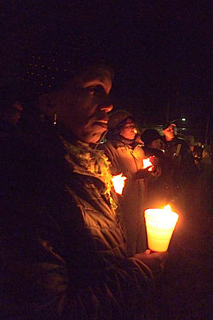 Dozens of people gathered in Greenburgh on a cold Wednesday night to remember the victims of Sandy Hook Elementary School.