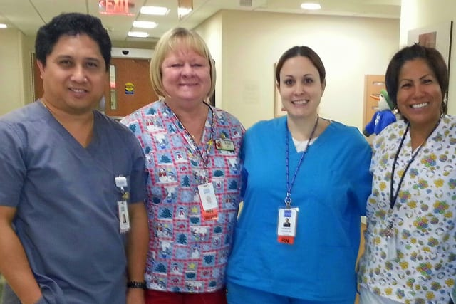 Courtney Schilio, second from right, with her colleagues at Hudson Valley Hospital Center.