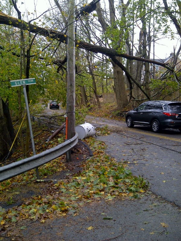 A user-submitted photo of the top of Glen Terrace and Hardscrabble Road in Chappaqua after Hurricane Sandy.