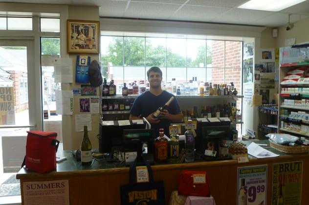 Jamie Vavrek works Sundays at Peter's Spirit Shop in Weston.