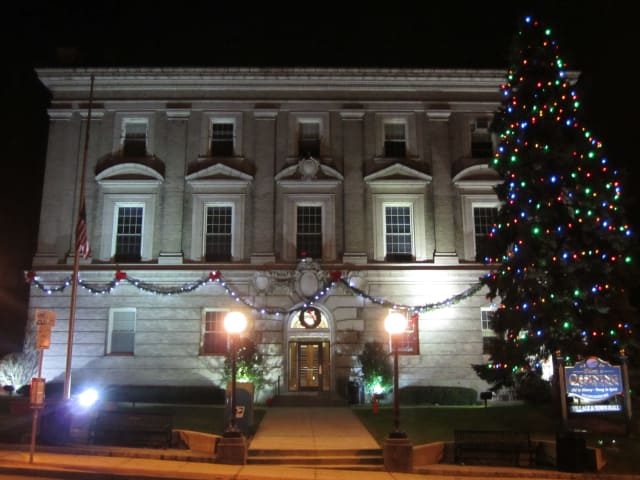 The Ossining Town/Village Hall lights up to celebrate the holiday season.