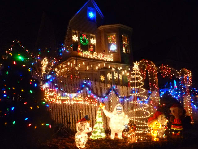 A home on Upland Avenue lights up for the Christmas season.