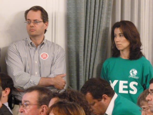 Proponents and opponents of the French-American School of New York's proposed White Plains campus wait to speak at the first of three public hearings in 2012.