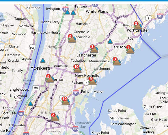 The storm that swept through Westchester Wednesday night left some of New Rochelle without power.