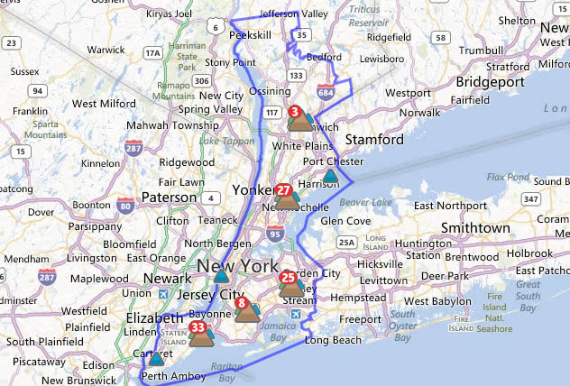 As of noon, Con Edison reported 27 outages in New Rochelle.