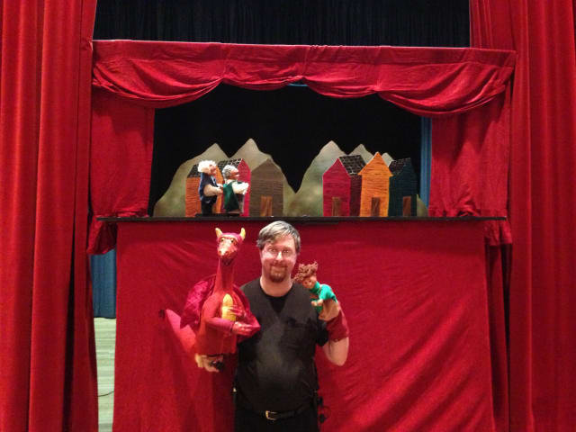 Puppeteer Matthew Leonard gave a live puppet show Thursday in the Chappaqua Public Library theater, with more than 75 children in attendance.