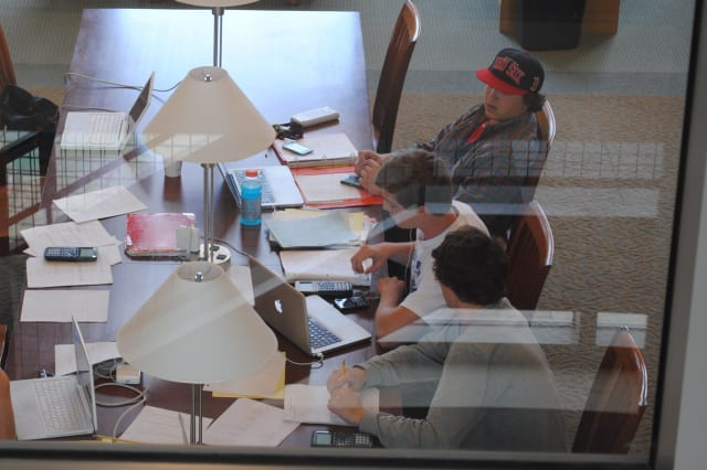 Students study at the Darien Library prior to finals.