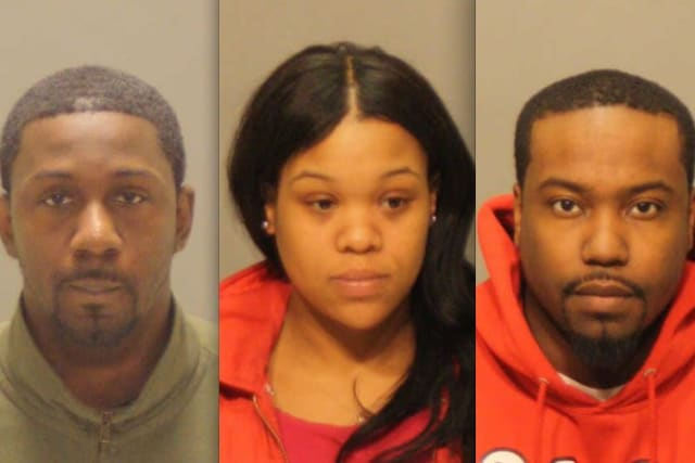 From left, Henry O. Iyasere, Tiara Smith and Smiley Abney are charged with attempting to obtain oxycodone with a forged prescription at a Greenwich pharmacy.