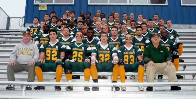 Justin Cohen, fifth row, third from left, was a member of the 2012 Clarkson University club football team.
