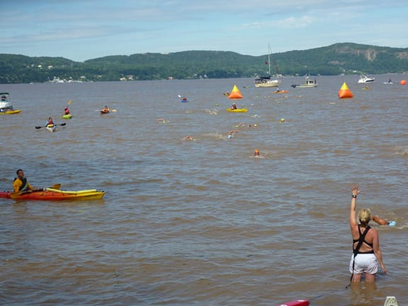 "Ossining's Riverkeeper recently released a report on sewage found in the Hudson River. Swimmers and kayakers at the finish of the ""Swim for Life"" swim across the Hudson River in this submitted photo."