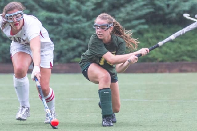 Emilia Tapsall, right, a Greenwich Academy senior, is The Greenwich Daily Voice athlete of the month after being named the only First Team All-American for field hockey from Conn.