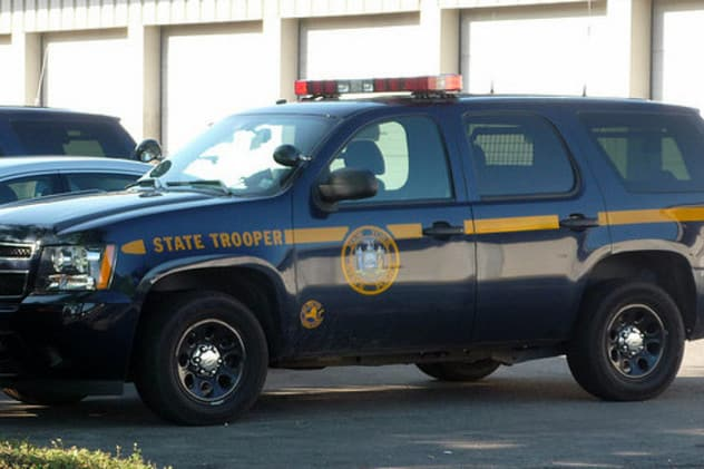 Two individuals was arrested Thursday morning after a car allegedly struck a state trooper's vehicle near Yonkers.
