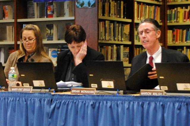 From left, Hendrick Hudson Board of Education member Laurie Ryan, board president Mary-Pat Briggi and Hendrick Hudson Superintendent Brian Monahan.