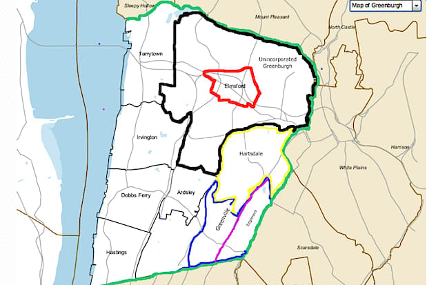 This town map shows the unincorporated areas, villages and hamlets of Greenburgh. Where do you live?
