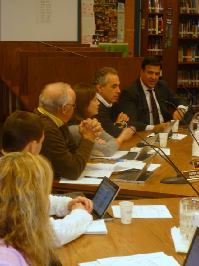 Katonah-Lewisboro school board member Peter Breslin, second from right, proposes forming a committee to study recommendations resulting from a safety audit.