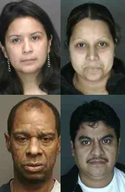 Clockwise from top left: Nelly Aguilar, Gloria Merlos Guevara, Martin Torres and Baron Blizzard were all arrested on shoplifting charges in Port Chester over the weekend, police said.