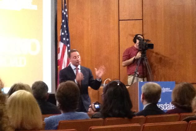 Westchester County Executive Rob Astorino visited Scarsdale in 2012. He will make an appearance in Eastchester on Wednesday.