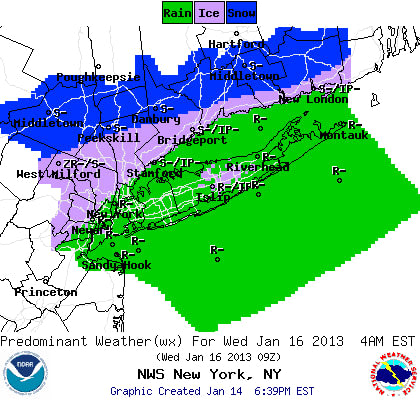 A wintry mix is predicted for Tuesday night into Wednesday morning in Westchester County.