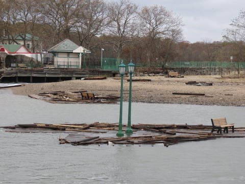 A portion of the boardwalk at Playland Park in Rye floats in the Long Island Sound following Hurricane Sandy on Oct. 30.