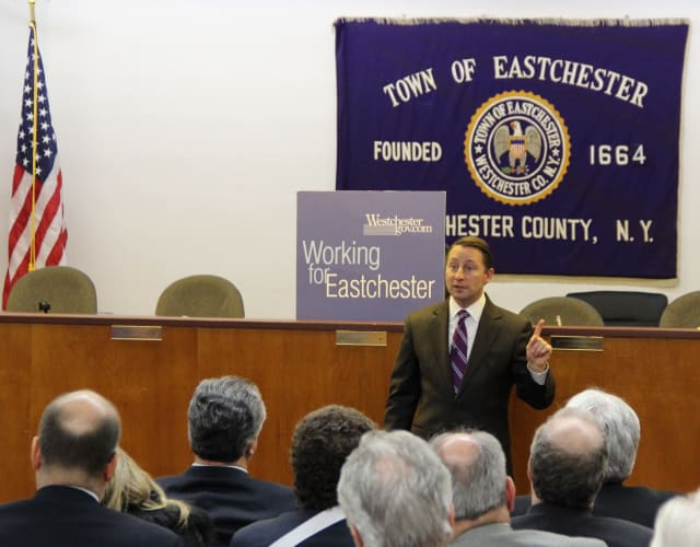 Westchester County executive Rob Astorino spoke to Eastchester, Scarsdale and Greenburgh residents on Wednesday.