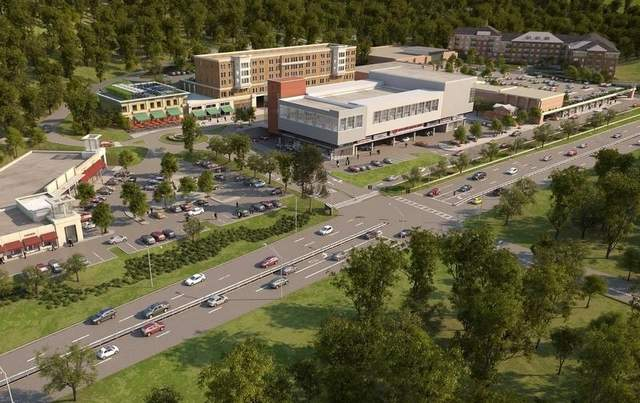 An artist's rendition shows the proposed Rivertowns Square Project along the Saw Mill River Parkway in Dobbs Ferry.