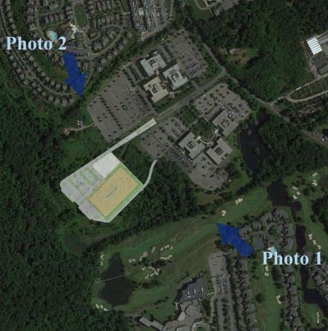 This illustration shows where a proposed four-rink ice arena would be built on the grounds of Reckson Executive Park on King Street in Rye Brook.