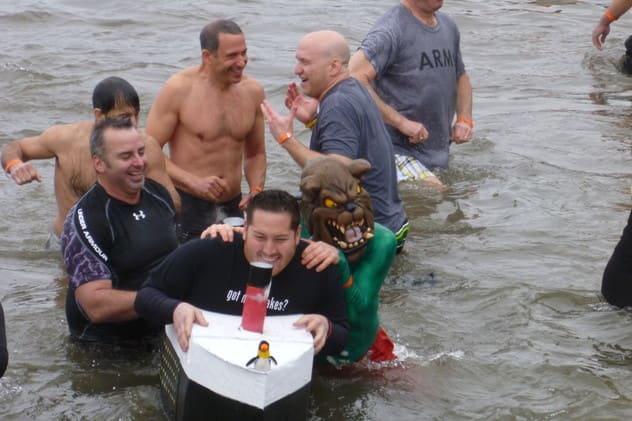 Irvington residents swim in the Hudson River as part of the Penguin Plunge fundraiser in March 2012.