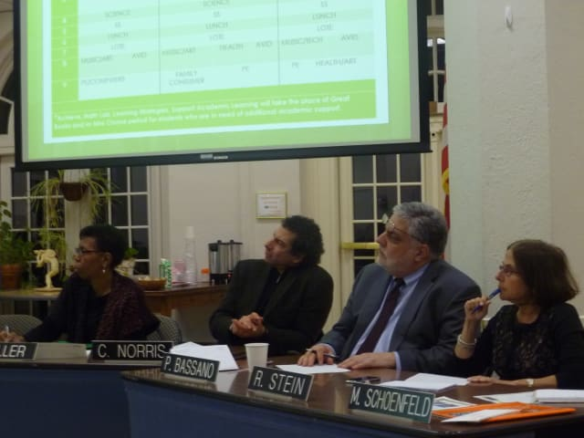 The White Plains Board of Education asked questions of the White Plains Middle School Redesign Steering Committee on Tuesday night.