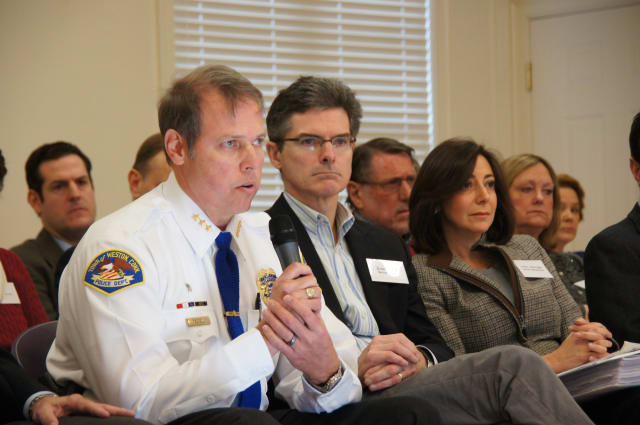 Weston police chief John Troxell and selectmen Dennis Tracey and Gayle Weinstein at a Speak Up Saturday meeting.