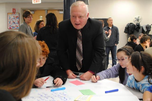 "Croton-Harmon Schools superintendents Edward Fuhrman at a ""World Cafe."""
