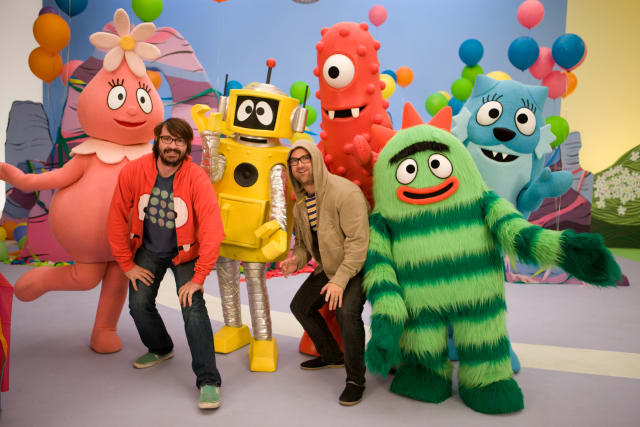 Yo Gabba Gabba creators Christian Jacobs and Scott Schultz stand with the whole crew from the live show coming to the Capitol Theatre on Sunday.