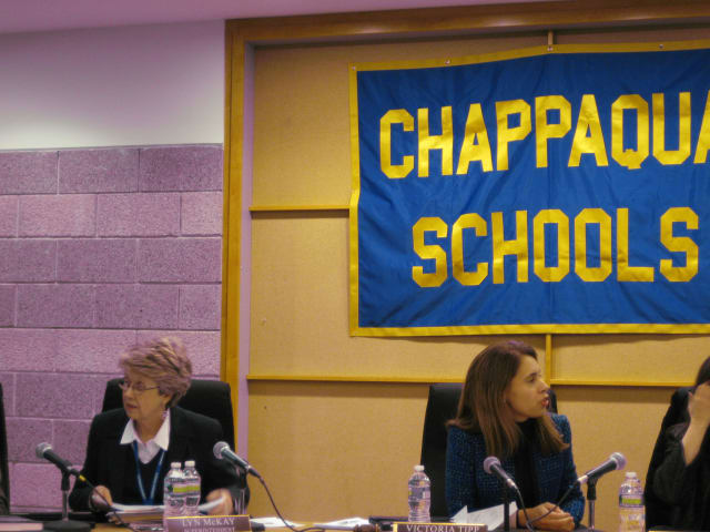 Chappaqua Schools Superintendent Lyn McKay, left, and board member Victoria Tipp previewed the 2013-14 budget Thursday night, along with the rest of the Chappaqua school board.