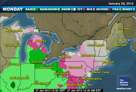 A wintery mix of sleet, snow and freezing rain is coming to Westchester County on Monday.