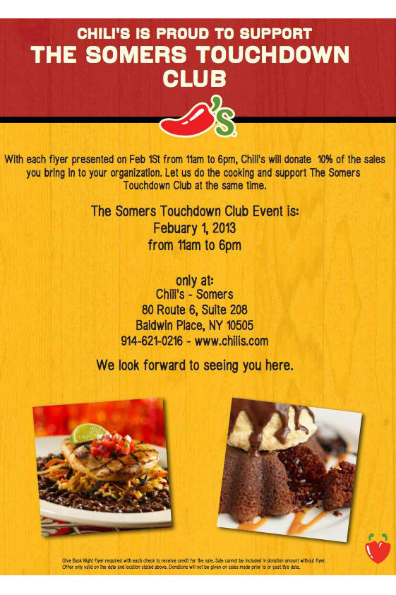 Dine at the Somers Chili's and 10 percent of your bill will be donated to the Somers Touchdown Club.