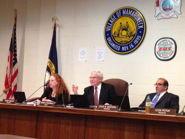 Mamaroneck Mayor Norman Rosenblum opens a hearing about the tax cap Monday night.