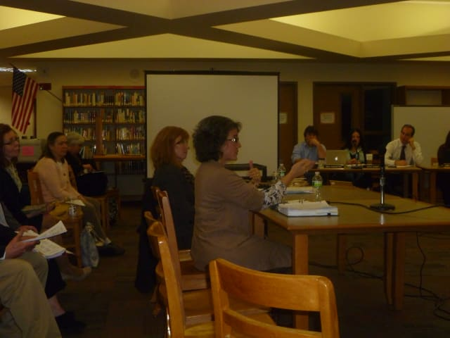 Gina Pina, assistant principal at Joel Barlow High School, discussed school safety plans at the meeting.