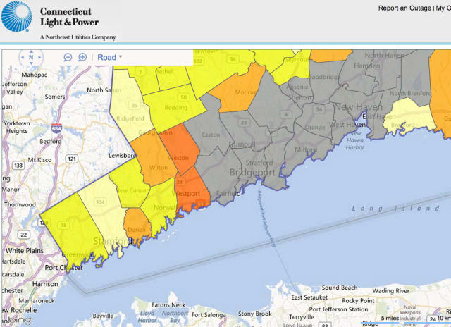 Darien, Westport and Weston were hardest hit by power outages after the overnight storm.