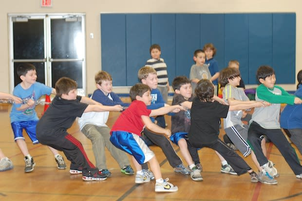 Edgemont students compete in the tug-of-war-match against their parents at last year's Winter Warm-Up. This year's event will be held Friday night at Greenville Elementary.