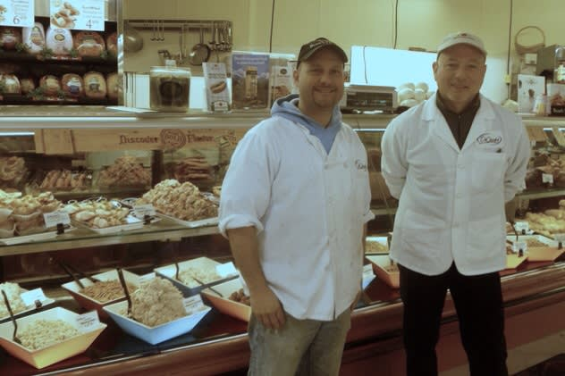 Joe Carelli and deli manager Lou DiMarzo of DeCicco Family Markets in Cross River are ready to help make your Super Bowl party menu a success.