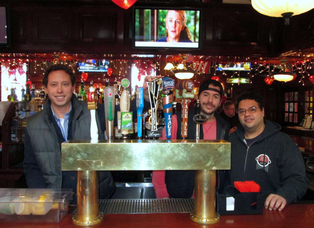 Yonkers natives John Rubbo (left) and Nick Califano (middle) hired brewer Sharif Taleb and opened Yonkers Brewing Company in January.