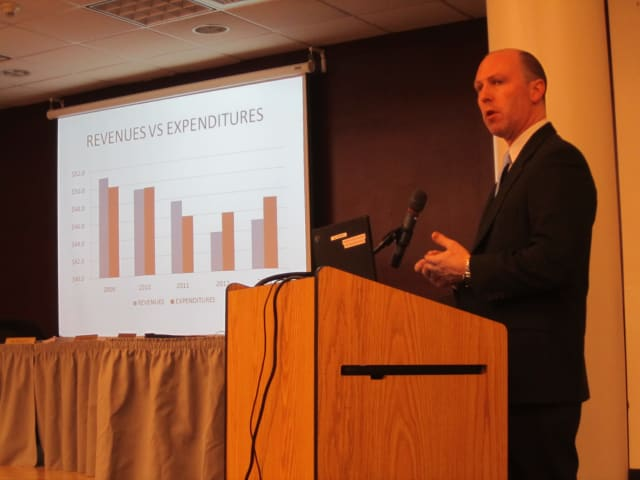Briarcliff school district Assistant Superintendent Stuart Mattey gives a budget presentation Monday evening in Briarcliff Manor.