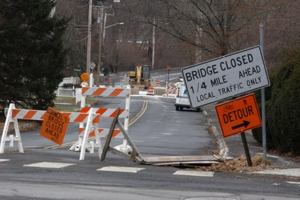 Detours around Cornell Road in Fairfield will stay in place until late April at the earliest.