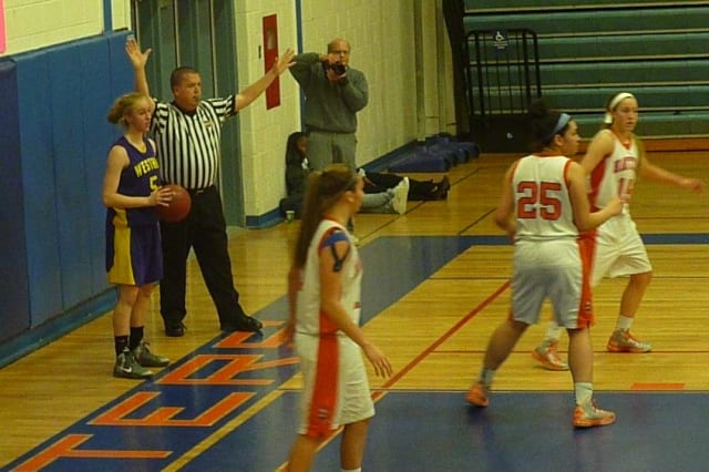 Westhill's Steph Roones looks to make an inbounds pass against Danbury on Tuesday night.