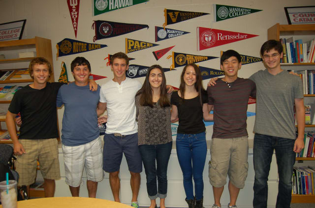 Byram Hills High School National Merit Finalists, from left: Connor O'Day, Lance Mack, Jonathan Bricker, Jennifer Gold, Brooke Robbins, Andrew Kim, and Jonathan Bohrer.