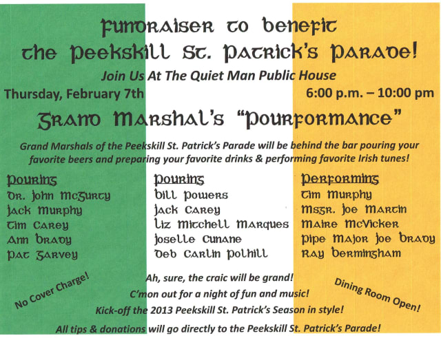 The Quiet Man Public House will host a fundraiser for Peekskill's 2013 St. Patrick's Parade on Thursday night.