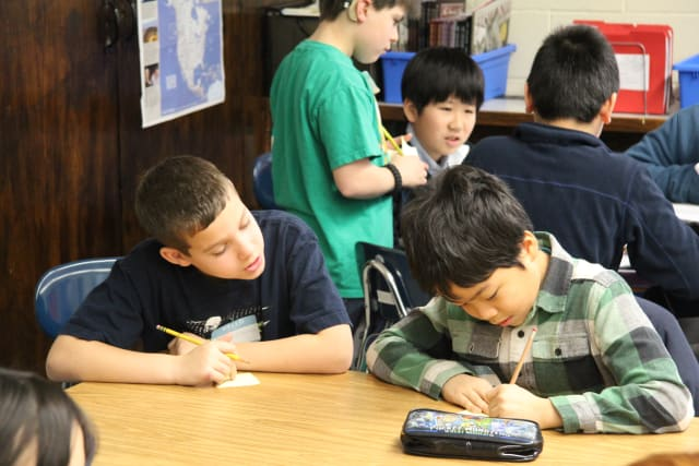 Ridge Street School and Greenwich Japanese School fifth-graders learned together as part of a cultural exchange.