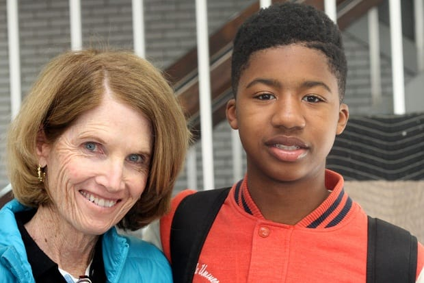 Nancy McKenna poses with a Destination College student athlete. The Bronxville-based organization works with students in Mount Vernon, Hartsdale and Yonkers.