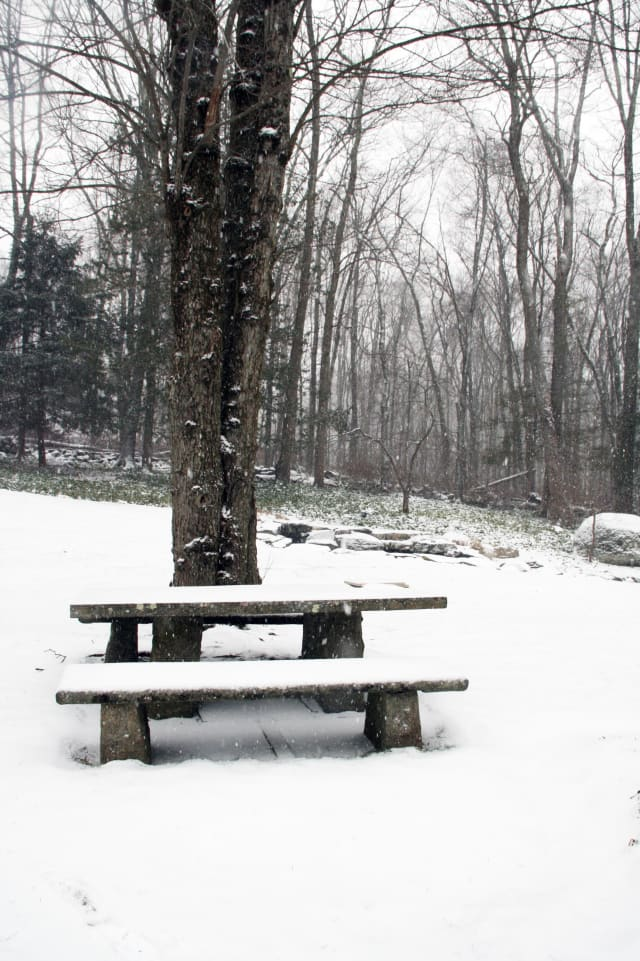 Snow arrived in North Salem Friday morning.